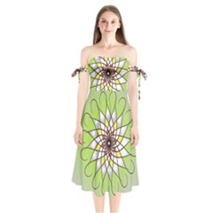 Mandala Model Figure Graphics Shoulder Tie Bardot Midi Dress