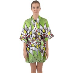 Mandala Model Figure Graphics Quarter Sleeve Kimono Robe by Simbadda