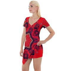 Chakra Art Heart Healing Red Short Sleeve Asymmetric Mini Dress