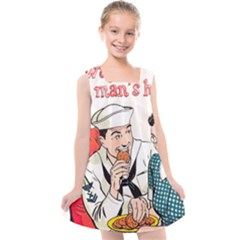 Retro Sailor Eating Cookie Kids  Cross Back Dress