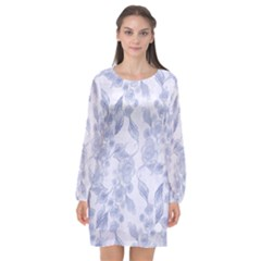 Blue Floral Long Sleeve Chiffon Shift Dress