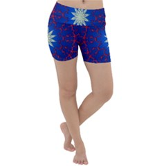 Mandala Abstract Fractal Patriotic Lightweight Velour Yoga Shorts