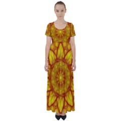 Kaleidoscope Floral Mandala Yellow High Waist Short Sleeve Maxi Dress