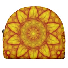 Kaleidoscope Floral Mandala Yellow Horseshoe Style Canvas Pouch by Simbadda