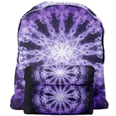 Fractal Mandala Background Purple Giant Full Print Backpack by Simbadda
