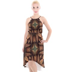 Pattern Moroccan Print Geometric High Low Halter Chiffon Dress