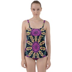 Abstract Art Abstract Background Twist Front Tankini Set