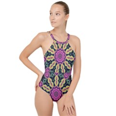 Abstract Art Abstract Background High Neck One Piece Swimsuit