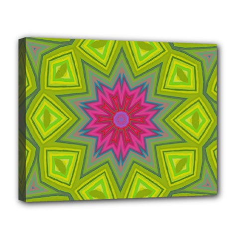Green Pink Abstract Art Abstract Background Canvas 14  X 11  (stretched)