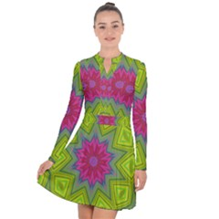 Green Pink Abstract Art Abstract Background Long Sleeve Panel Dress