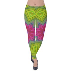 Green Pink Abstract Art Abstract Background Velvet Leggings by Simbadda