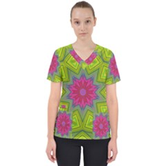 Green Pink Abstract Art Abstract Background Women s V-neck Scrub Top