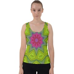 Green Pink Abstract Art Abstract Background Velvet Tank Top