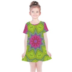 Green Pink Abstract Art Abstract Background Kids  Simple Cotton Dress