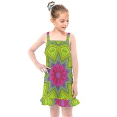 Green Pink Abstract Art Abstract Background Kids  Overall Dress