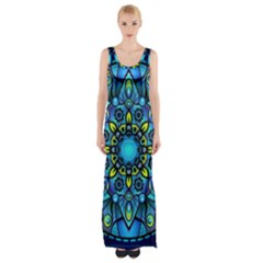 Mandala Blue Abstract Circle Maxi Thigh Split Dress by Simbadda