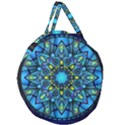 Mandala Blue Abstract Circle Giant Round Zipper Tote View1