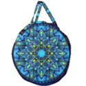 Mandala Blue Abstract Circle Giant Round Zipper Tote View2