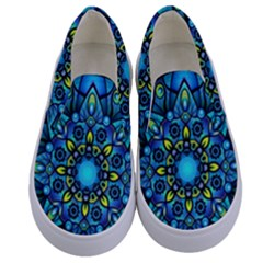Mandala Blue Abstract Circle Kids  Canvas Slip Ons