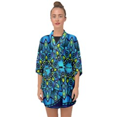 Mandala Blue Abstract Circle Half Sleeve Chiffon Kimono
