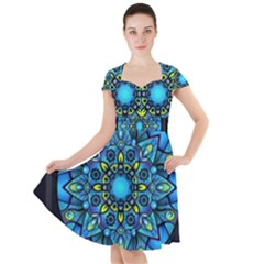 Mandala Blue Abstract Circle Cap Sleeve Midi Dress