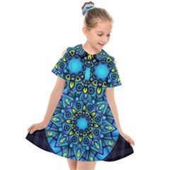 Mandala Blue Abstract Circle Kids  Short Sleeve Shirt Dress