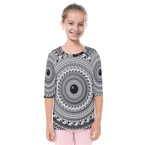 Graphic Design Round Geometric Kids  Quarter Sleeve Raglan Tee by Simbadda