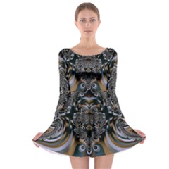 Fractal Art Artwork Design Long Sleeve Skater Dress by Simbadda