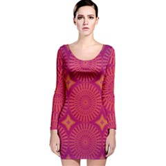 Flower Wheel Chakra Mandala Modern Long Sleeve Velvet Bodycon Dress by Simbadda