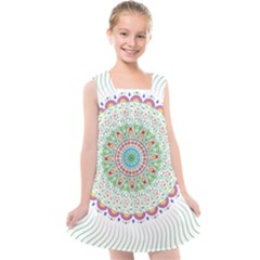 Flower Abstract Floral Kids  Cross Back Dress by Simbadda