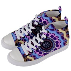 Mandala Art Design Pattern Women s Mid Top Canvas Sneakers by Simbadda