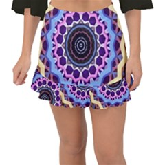 Mandala Art Design Pattern Fishtail Mini Chiffon Skirt