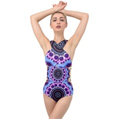 Mandala Art Design Pattern Cross Front Low Back Swimsuit