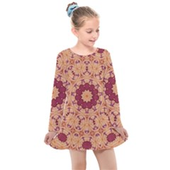 Abstract Art Abstract Background Pattern Kids  Long Sleeve Dress