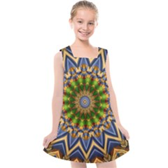 Abstract Antique Art Background Pattern Kids  Cross Back Dress by Simbadda