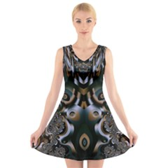 Art Fractal Artwork Design V Neck Sleeveless Dress