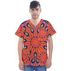 Abstract Art Abstract Background Men s V Neck Scrub Top