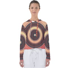 Ornamental Shape Concentric Round Women s Slouchy Sweat