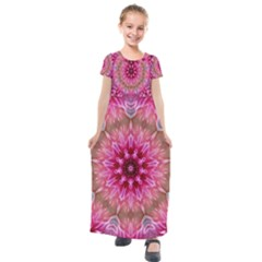 Flower Mandala Art Pink Abstract Kids  Short Sleeve Maxi Dress