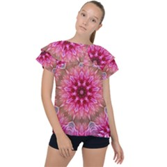 Flower Mandala Art Pink Abstract Ruffle Collar Chiffon Blouse