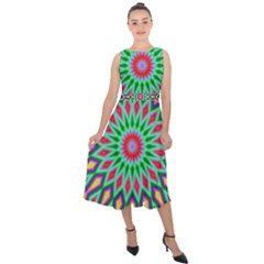 3d Abstract Art Abstract Background Midi Tie Back Chiffon Dress