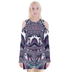Fractal Art Artwork Design Velvet Long Sleeve Shoulder Cutout Dress by Simbadda
