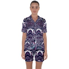 Fractal Art Artwork Design Satin Short Sleeve Pyjamas Set by Simbadda