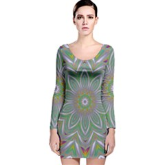 Abstract Art Colorful Texture Long Sleeve Velvet Bodycon Dress by Simbadda