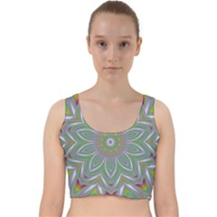 Abstract Art Colorful Texture Velvet Racer Back Crop Top by Simbadda