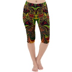 Fractal Art Artwork Design Lightweight Velour Cropped Yoga Leggings