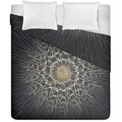 Fractal Mandala Feathers Grey Duvet Cover Double Side (california King Size)