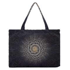 Fractal Mandala Feathers Grey Zipper Medium Tote Bag by Simbadda