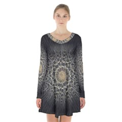 Fractal Mandala Feathers Grey Long Sleeve Velvet V Neck Dress