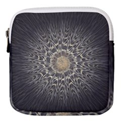 Fractal Mandala Feathers Grey Mini Square Pouch by Simbadda